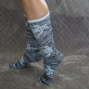 Victoria's Secret Pinl Crew Socks Grey NWT